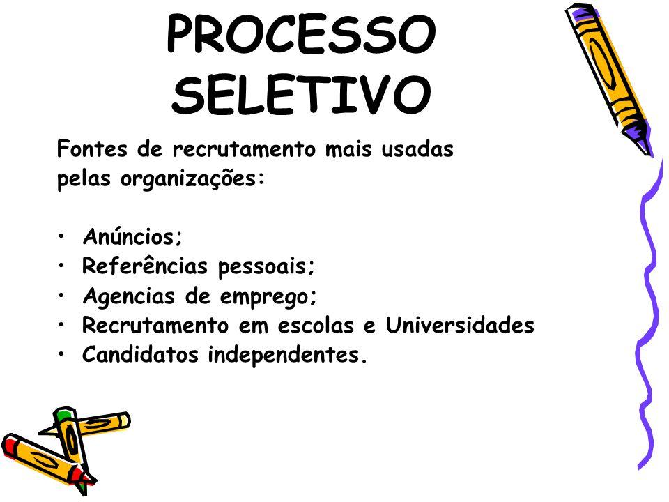 PROCESSO SELETIVO Análise de Currículos – os currículos são uma maneira fácil e útil de obter informações sobre o candidato(a), porém insuficiente.