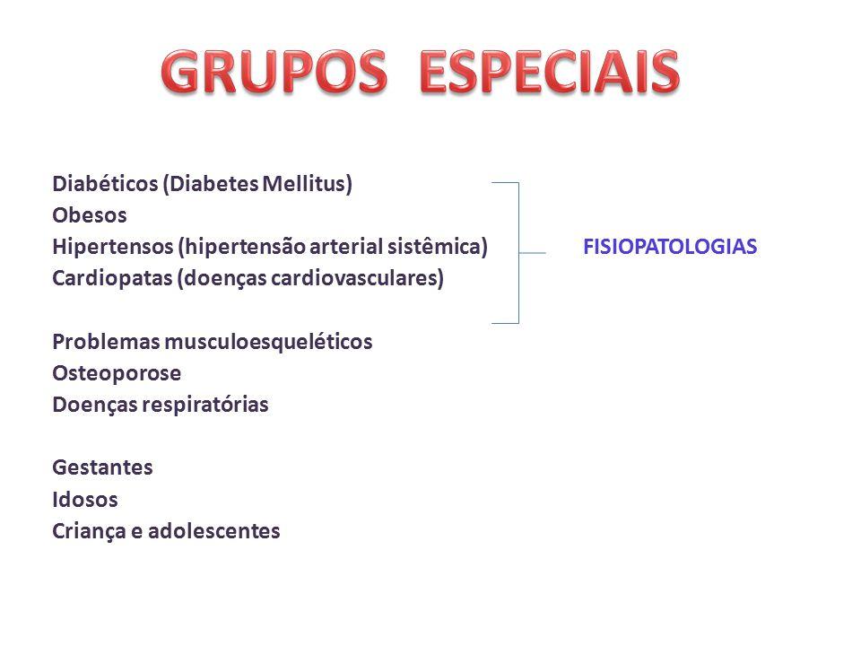 Diabéticos (Diabetes Mellitus) Obesos Hipertensos (hipertensão arterial sistêmica) FISIOPATOLOGIAS Cardiopatas (doenças cardiovasculares) Problemas musculoesqueléticos Osteoporose Doenças respiratórias Gestantes Idosos Criança e adolescentes