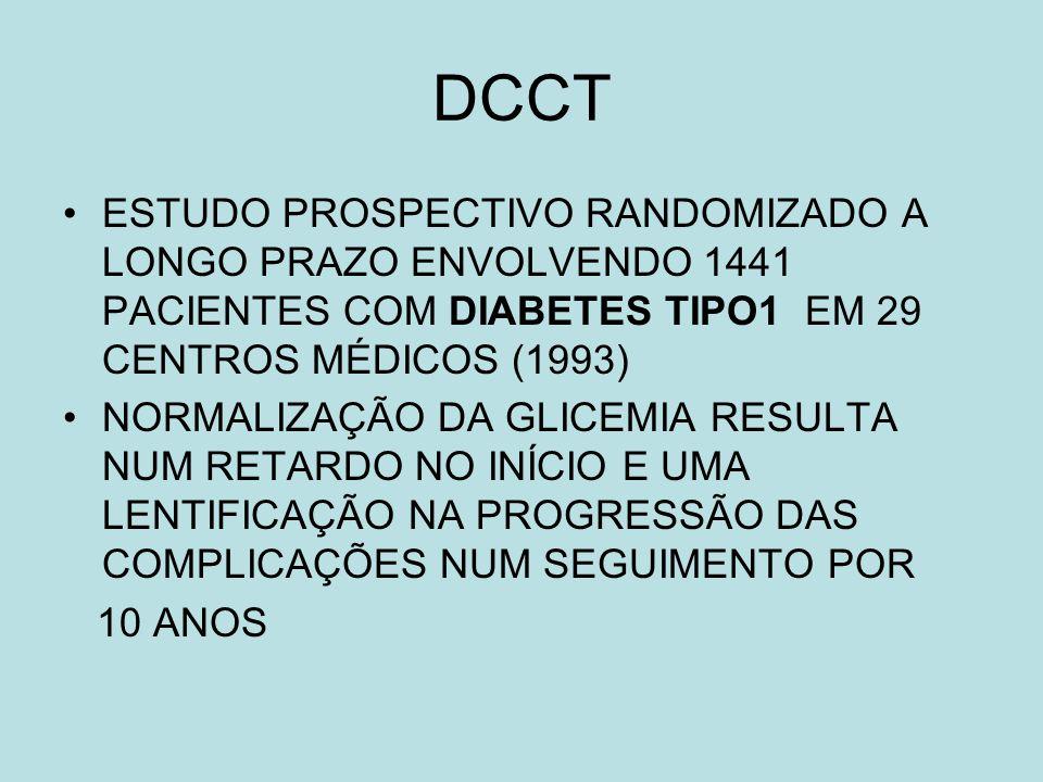 DCCT DOIS GRUPOS: - METADE SEM COMPLICAÇÃO - OUTRA METADE MÉDIA RETINOPATIA MÉDIA NEUROPATIA, DISCRETA MICROALBUMINÚRIA TRATAMENTO - INTENSIVO MÚLTIPLAS DOSES DE INSULINA OU BOMBA DE INFUSÃO - CONVENCIONAL: DUAS DOSES DIÁRIAS