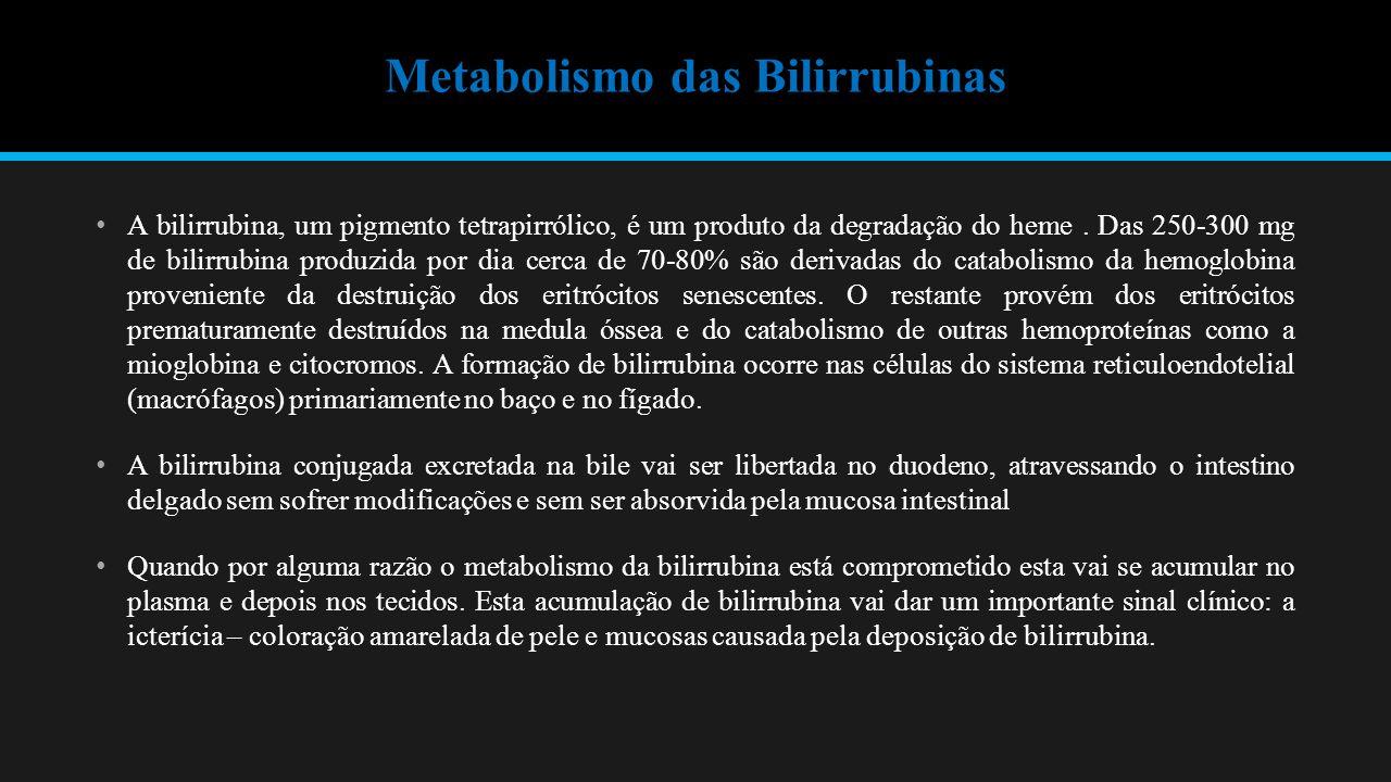 Metabolismo das Bilirrubinas A bilirrubina, um pigmento tetrapirrólico, é um produto da degradação do heme.