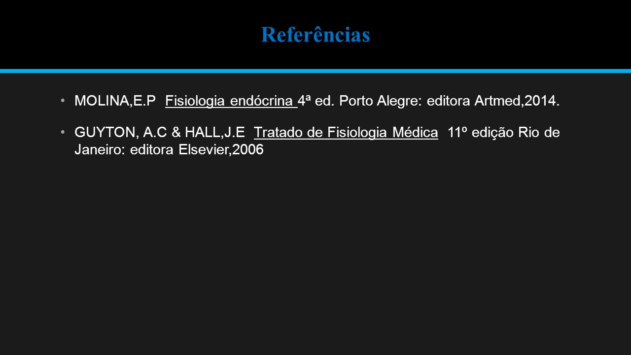 Referências MOLINA,E.P Fisiologia endócrina 4ª ed.