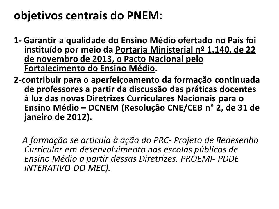 objetivos centrais do PNEM: 1- Garantir a qualidade do Ensino Médio ofertado no País foi instituído por meio da Portaria Ministerial nº 1.140, de 22 de novembro de 2013, o Pacto Nacional pelo Fortalecimento do Ensino Médio.
