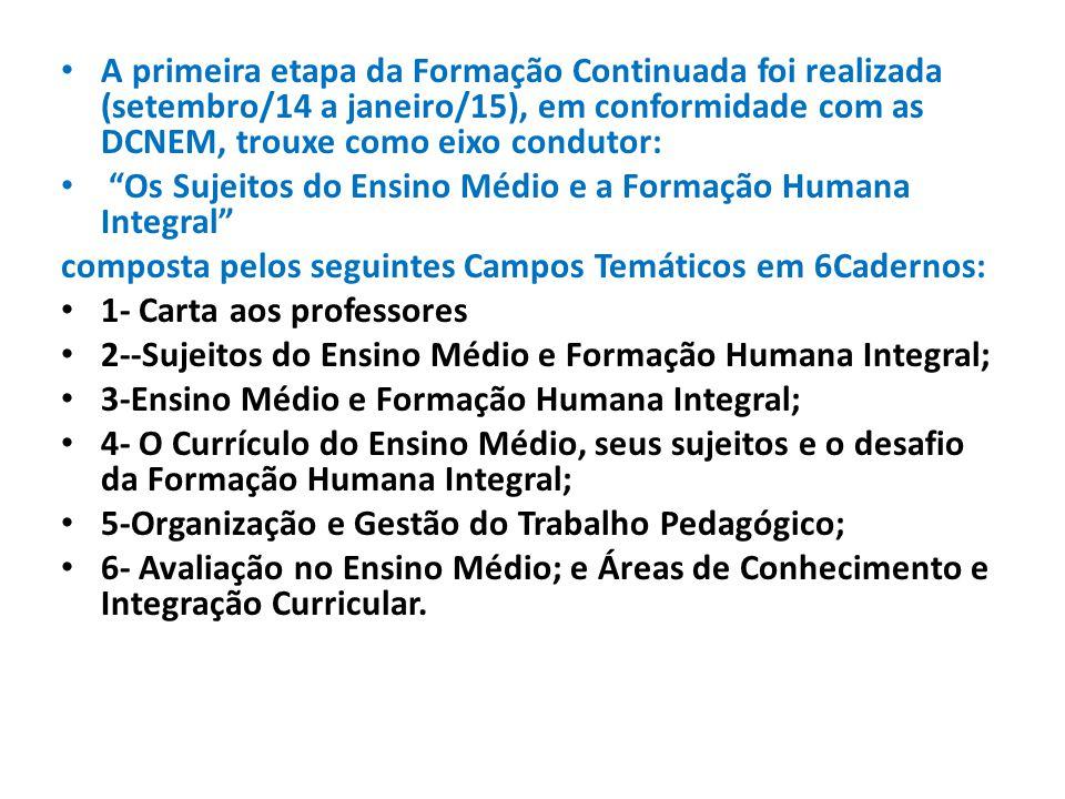 A primeira etapa da Formação Continuada foi realizada (setembro/14 a janeiro/15), em conformidade com as DCNEM, trouxe como eixo condutor: Os Sujeitos do Ensino Médio e a Formação Humana Integral composta pelos seguintes Campos Temáticos em 6Cadernos: 1- Carta aos professores 2--Sujeitos do Ensino Médio e Formação Humana Integral; 3-Ensino Médio e Formação Humana Integral; 4- O Currículo do Ensino Médio, seus sujeitos e o desafio da Formação Humana Integral; 5-Organização e Gestão do Trabalho Pedagógico; 6- Avaliação no Ensino Médio; e Áreas de Conhecimento e Integração Curricular.