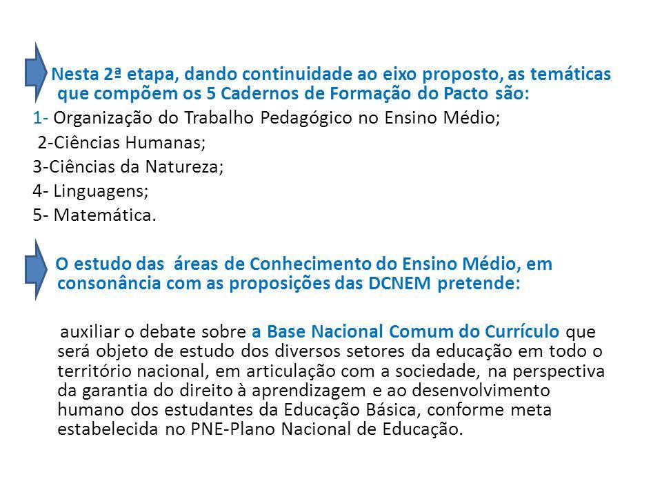 Nesta 2ª etapa, dando continuidade ao eixo proposto, as temáticas que compõem os 5 Cadernos de Formação do Pacto são: 1- Organização do Trabalho Pedagógico no Ensino Médio; 2-Ciências Humanas; 3-Ciências da Natureza; 4- Linguagens; 5- Matemática.
