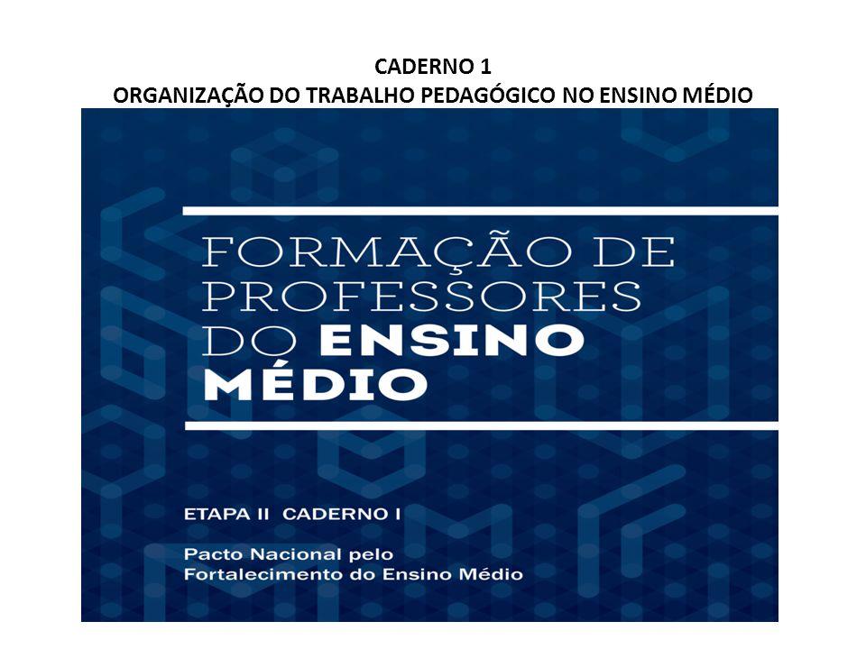 CADERNO 1 ORGANIZAÇÃO DO TRABALHO PEDAGÓGICO NO ENSINO MÉDIO