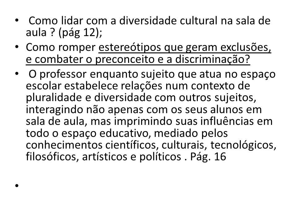 Como lidar com a diversidade cultural na sala de aula .