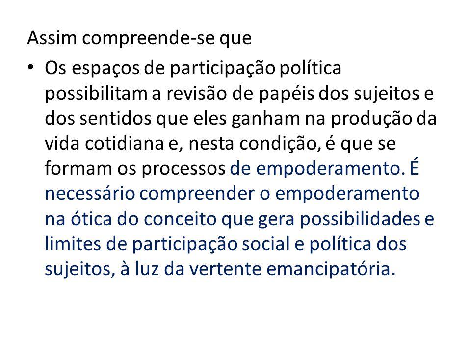 Assim compreende-se que Os espaços de participação política possibilitam a revisão de papéis dos sujeitos e dos sentidos que eles ganham na produção da vida cotidiana e, nesta condição, é que se formam os processos de empoderamento.