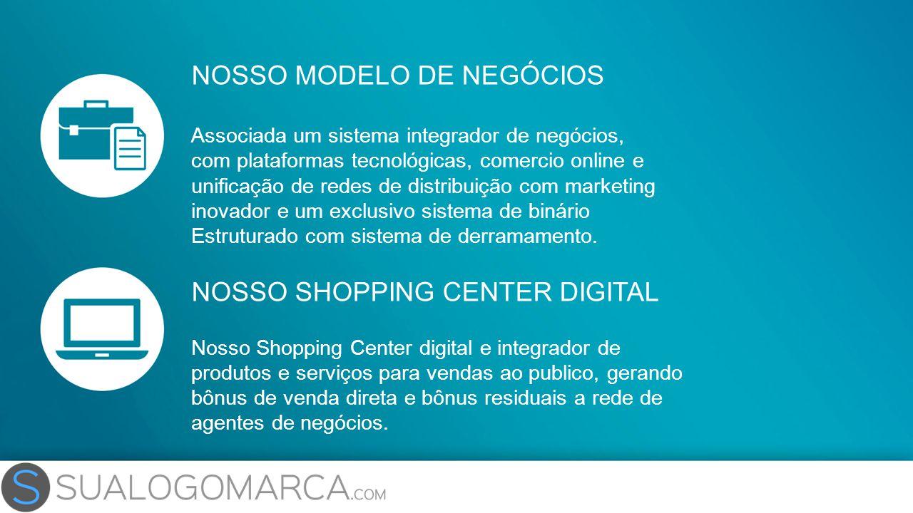 NOSSO MODELO DE NEGÓCIOS Associada um sistema integrador de negócios, com plataformas tecnológicas, comercio online e unificação de redes de distribui