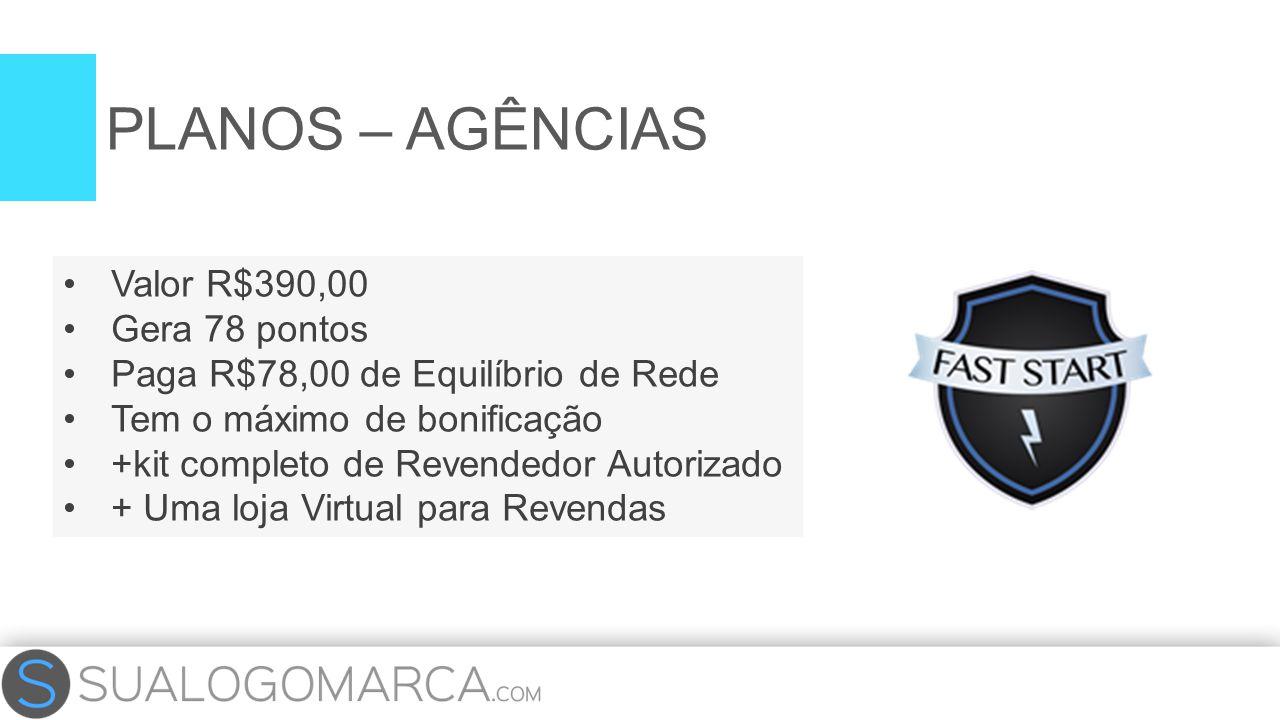 Valor R$390,00 Gera 78 pontos Paga R$78,00 de Equilíbrio de Rede Tem o máximo de bonificação +kit completo de Revendedor Autorizado + Uma loja Virtual