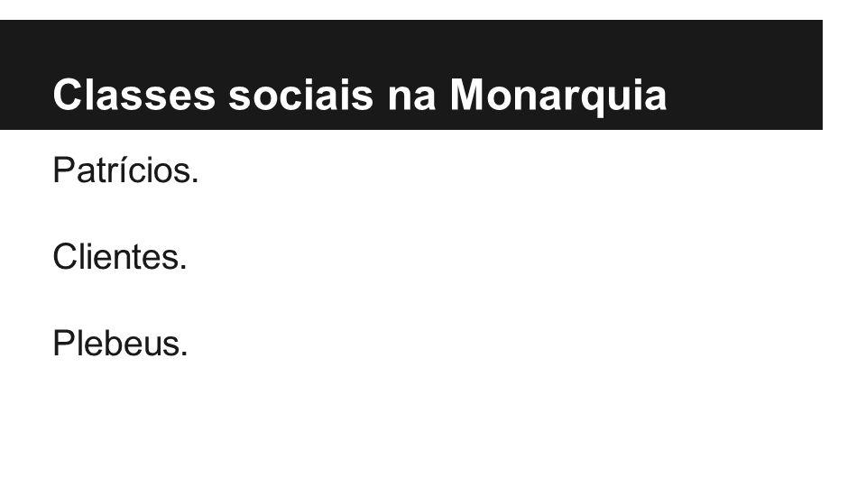 Classes sociais na Monarquia Patrícios. Clientes. Plebeus.