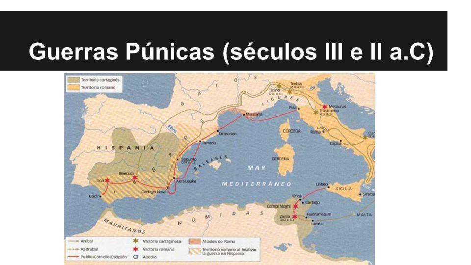 Consequências da vitória romana -Roma obteve o controle do comércio do Mediterrâneo.