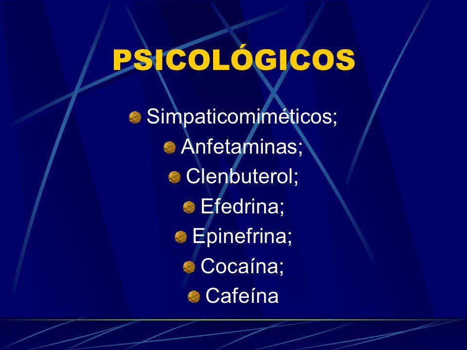 FISIOLÓGICOS Sobrecarga de bicarbonato ; Sobrecarga de fosfato; Dopagem sanguínea; Carnitina; Creatina; Fosfatidil-colina;
