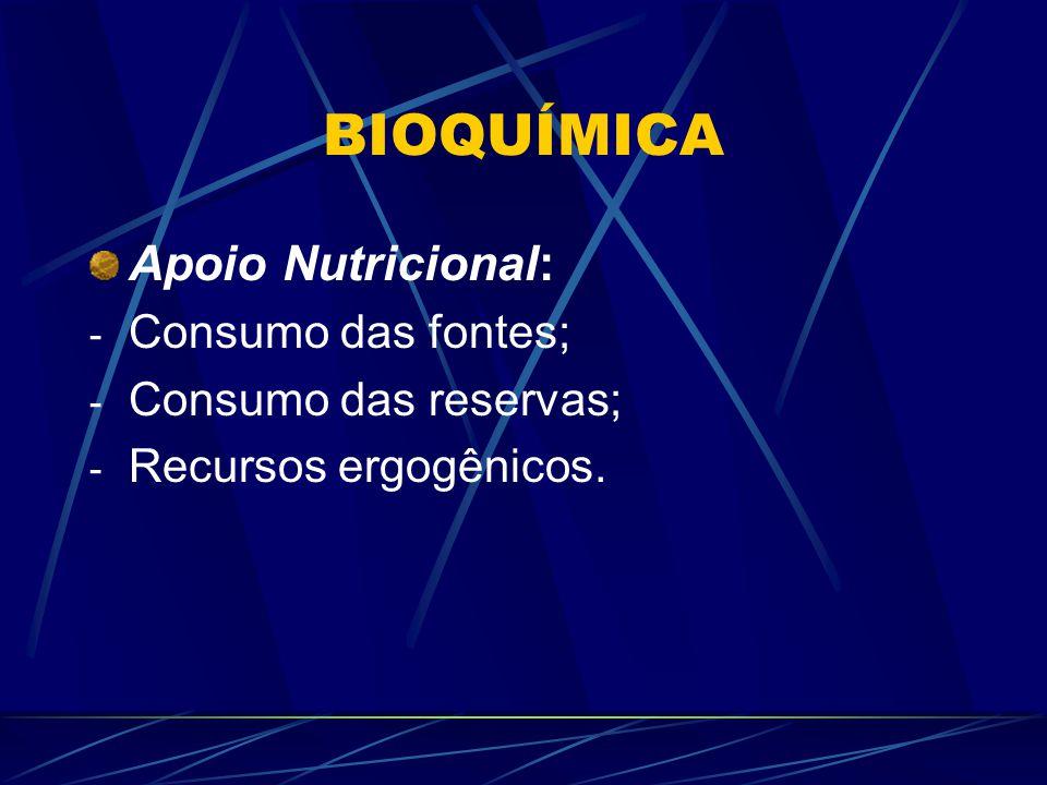 BIOQUÍMICA Apoio Nutricional: - Consumo das fontes; - Consumo das reservas; - Recursos ergogênicos.