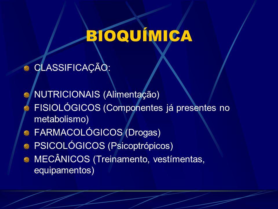 BIOQUÍMICA CLASSIFICAÇÃO: NUTRICIONAIS (Alimentação) FISIOLÓGICOS (Componentes já presentes no metabolismo) FARMACOLÓGICOS (Drogas) PSICOLÓGICOS (Psicoptrópicos) MECÂNICOS (Treinamento, vestímentas, equipamentos)