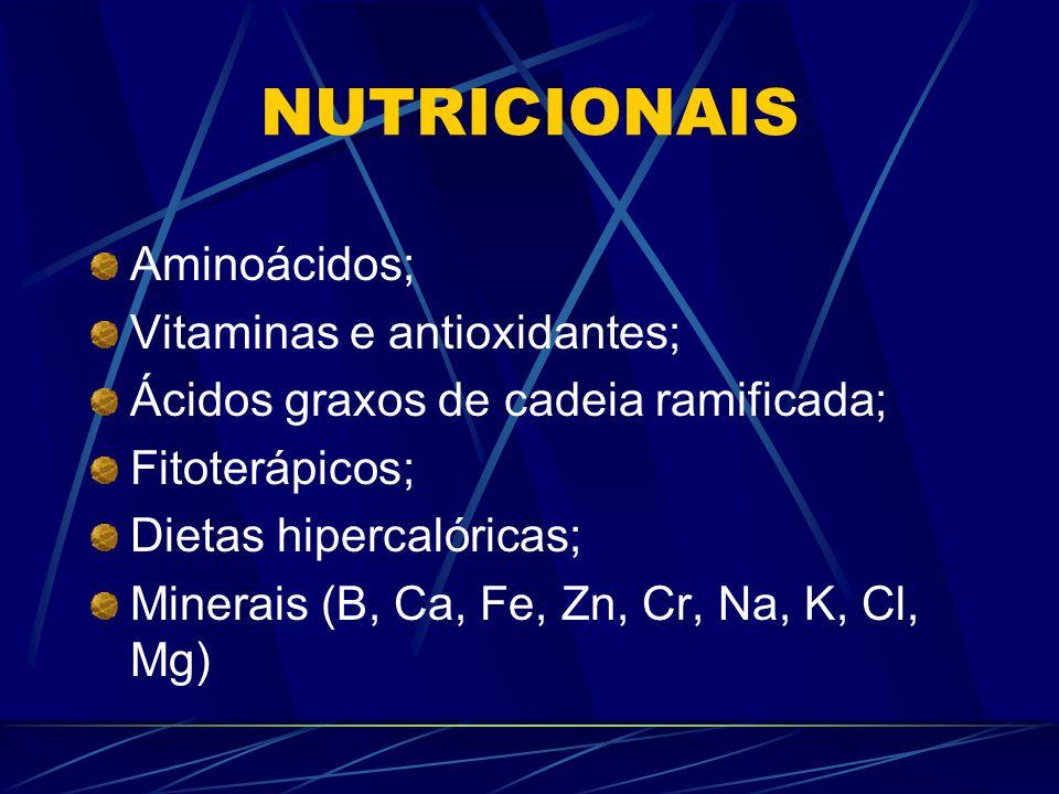 NUTRICIONAIS Aminoácidos; Vitaminas e antioxidantes; Ácidos graxos de cadeia ramificada; Fitoterápicos; Dietas hipercalóricas; Minerais (B, Ca, Fe, Zn, Cr, Na, K, Cl, Mg)