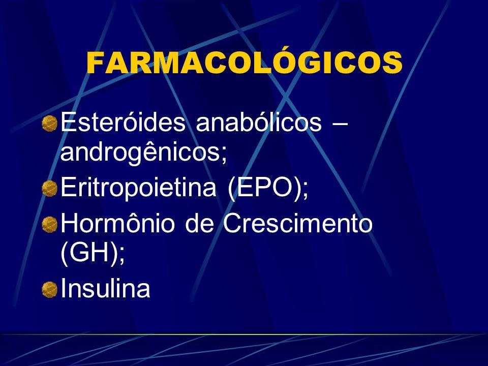 FARMACOLÓGICOS Esteróides anabólicos – androgênicos; Eritropoietina (EPO); Hormônio de Crescimento (GH); Insulina