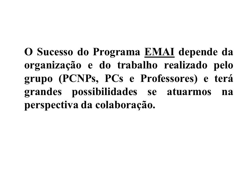 O Sucesso do Programa EMAI depende da organização e do trabalho realizado pelo grupo (PCNPs, PCs e Professores) e terá grandes possibilidades se atuar