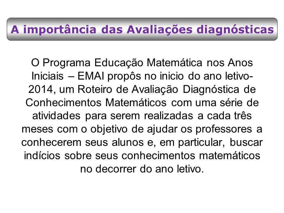O Programa Educação Matemática nos Anos Iniciais – EMAI propôs no inicio do ano letivo- 2014, um Roteiro de Avaliação Diagnóstica de Conhecimentos Mat