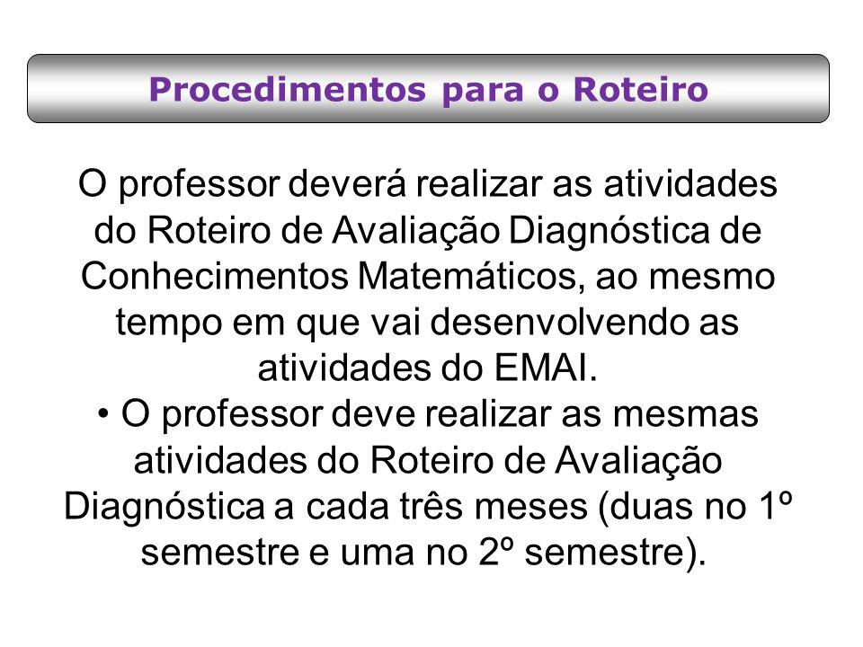 Procedimentos para o Roteiro O professor deverá realizar as atividades do Roteiro de Avaliação Diagnóstica de Conhecimentos Matemáticos, ao mesmo temp