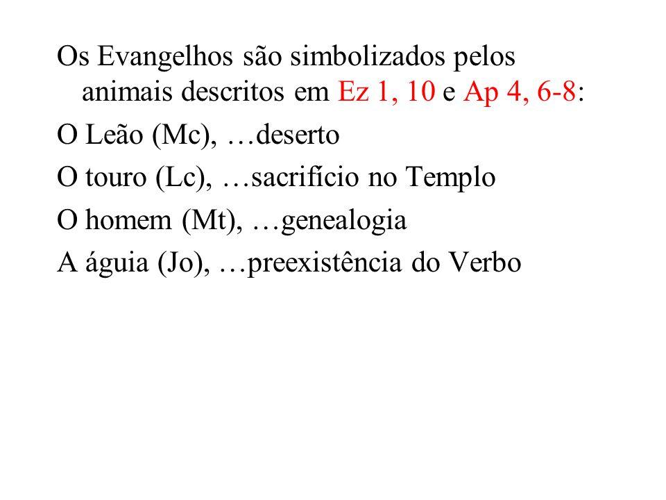 Os Evangelhos são simbolizados pelos animais descritos em Ez 1, 10 e Ap 4, 6-8: O Leão (Mc), …deserto O touro (Lc), …sacrifício no Templo O homem (Mt), …genealogia A águia (Jo), …preexistência do Verbo