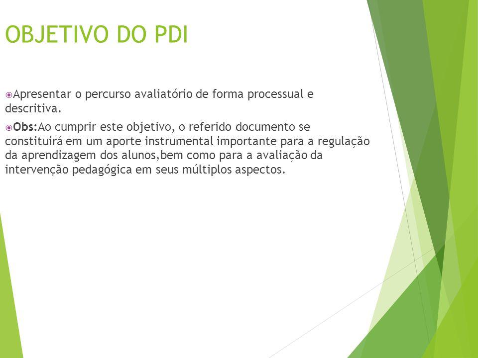OBJETIVO DO PDI  Apresentar o percurso avaliatório de forma processual e descritiva.  Obs:Ao cumprir este objetivo, o referido documento se constitu