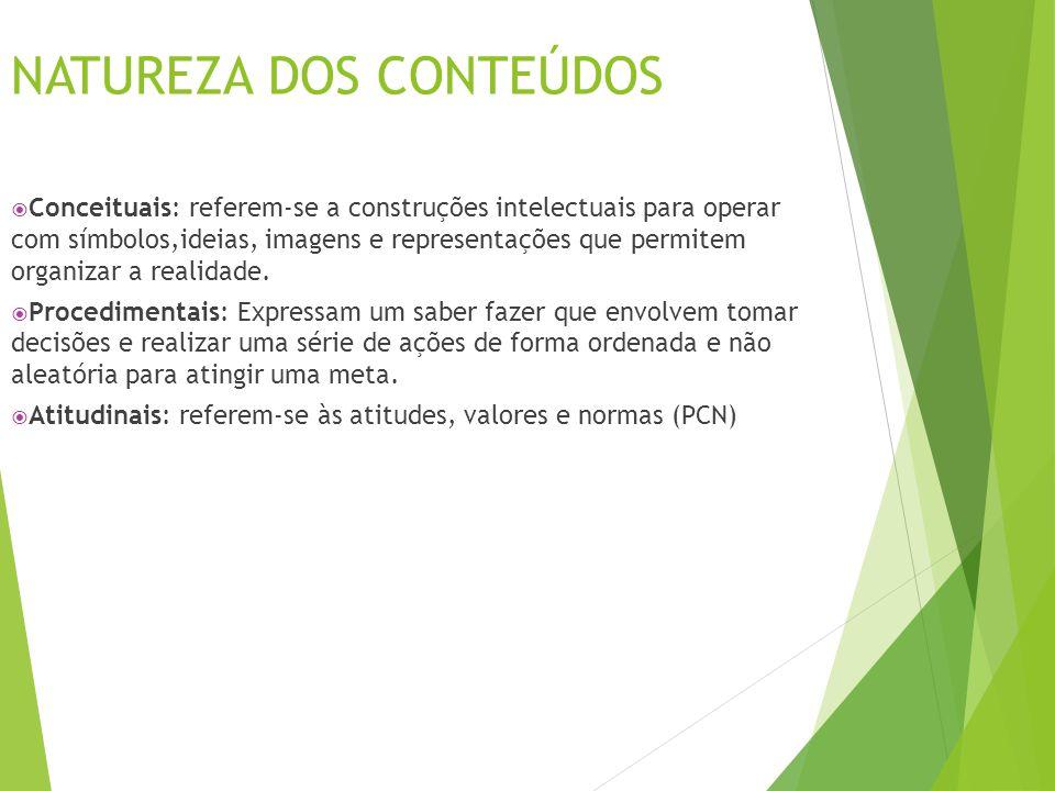 NATUREZA DOS CONTEÚDOS  Conceituais: referem-se a construções intelectuais para operar com símbolos,ideias, imagens e representações que permitem org