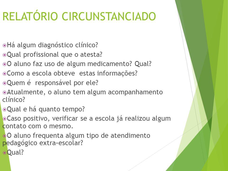 RELATÓRIO CIRCUNSTANCIADO  Há algum diagnóstico clínico?  Qual profissional que o atesta?  O aluno faz uso de algum medicamento? Qual?  Como a esc