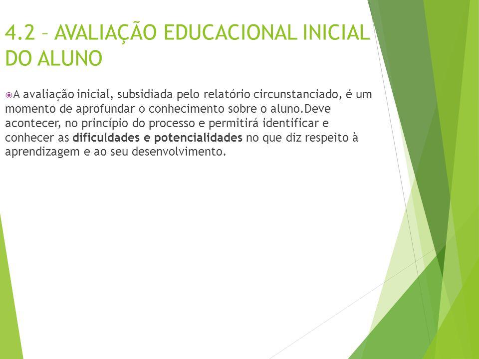 4.2 – AVALIAÇÃO EDUCACIONAL INICIAL DO ALUNO  A avaliação inicial, subsidiada pelo relatório circunstanciado, é um momento de aprofundar o conhecimen