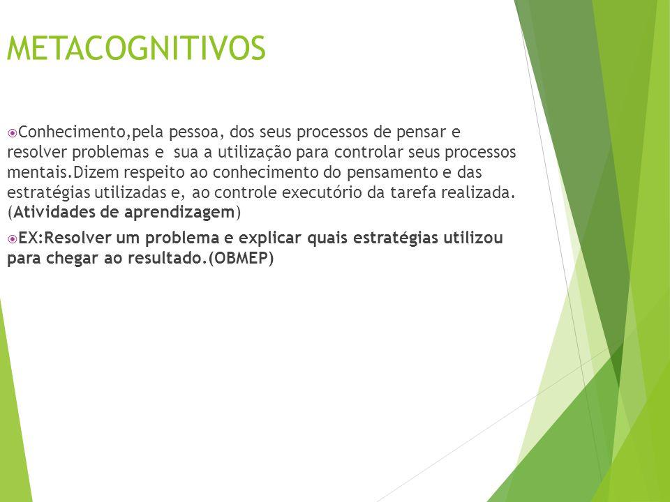METACOGNITIVOS  Conhecimento,pela pessoa, dos seus processos de pensar e resolver problemas e sua a utilização para controlar seus processos mentais.