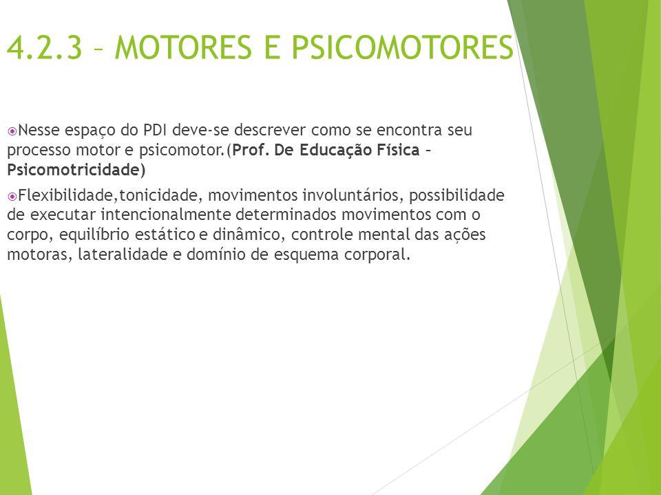 4.2.3 – MOTORES E PSICOMOTORES  Nesse espaço do PDI deve-se descrever como se encontra seu processo motor e psicomotor.(Prof. De Educação Física – Ps