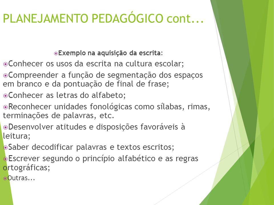 PLANEJAMENTO PEDAGÓGICO cont...  Exemplo na aquisição da escrita:  Conhecer os usos da escrita na cultura escolar;  Compreender a função de segment