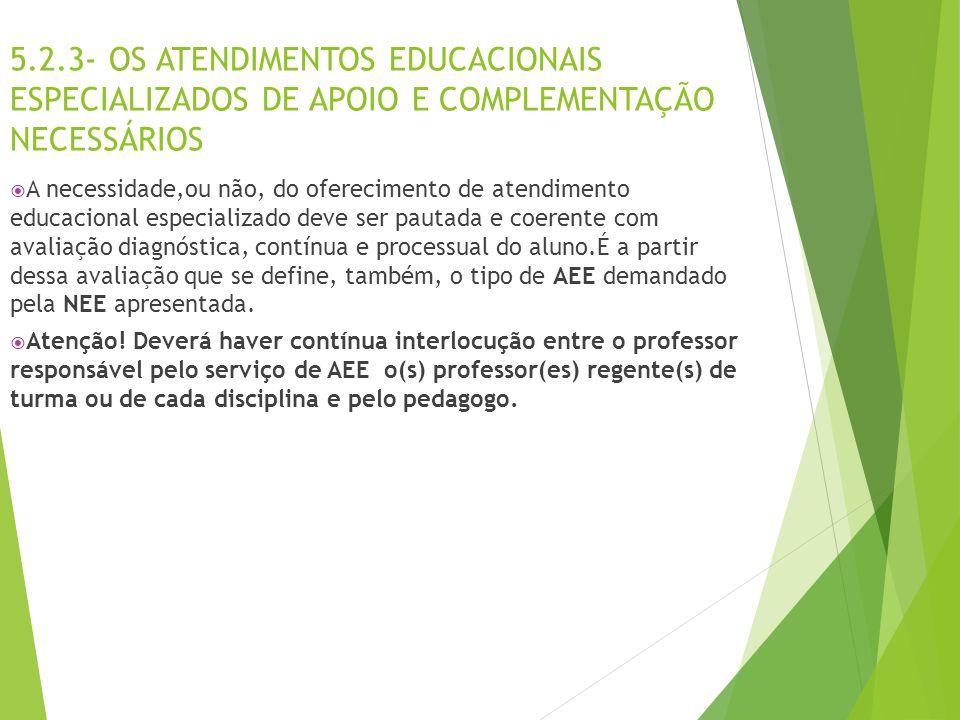 5.2.3- OS ATENDIMENTOS EDUCACIONAIS ESPECIALIZADOS DE APOIO E COMPLEMENTAÇÃO NECESSÁRIOS  A necessidade,ou não, do oferecimento de atendimento educac