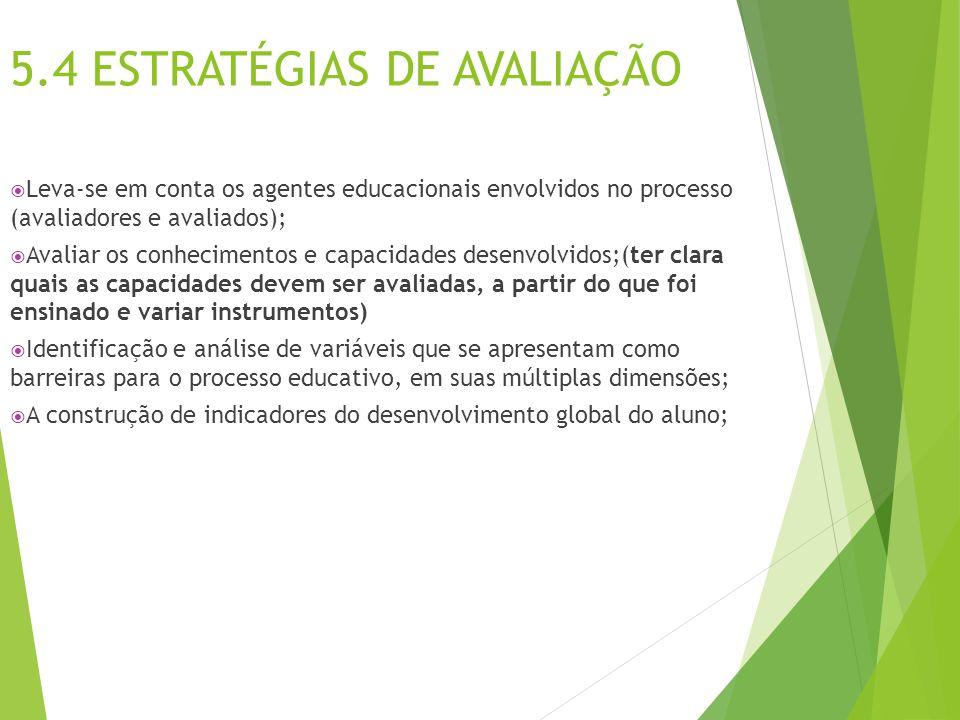 5.4 ESTRATÉGIAS DE AVALIAÇÃO  Leva-se em conta os agentes educacionais envolvidos no processo (avaliadores e avaliados);  Avaliar os conhecimentos e