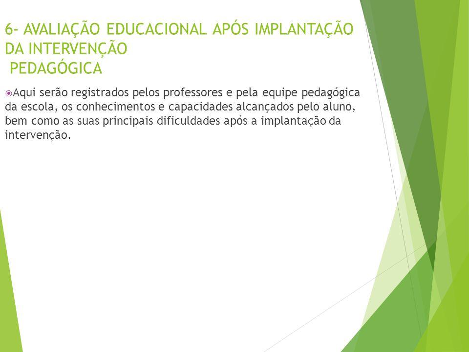 6- AVALIAÇÃO EDUCACIONAL APÓS IMPLANTAÇÃO DA INTERVENÇÃO PEDAGÓGICA  Aqui serão registrados pelos professores e pela equipe pedagógica da escola, os