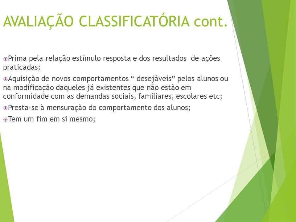 AVALIAÇÃO CLASIFICATÓRIA cont..
