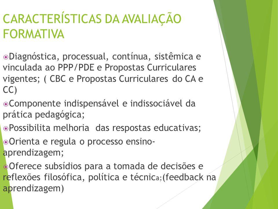 CARACTERÍSTICAS DA AVALIAÇÃO FORMATIVA  Diagnóstica, processual, contínua, sistêmica e vinculada ao PPP/PDE e Propostas Curriculares vigentes; ( CBC
