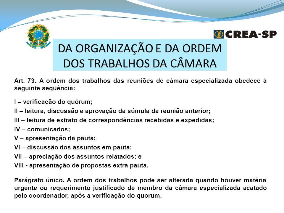 DA ORGANIZAÇÃO E DA ORDEM DOS TRABALHOS DA CÂMARA Art.