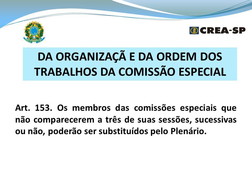 DA ORGANIZAÇÃ E DA ORDEM DOS TRABALHOS DA COMISSÃO ESPECIAL Art.