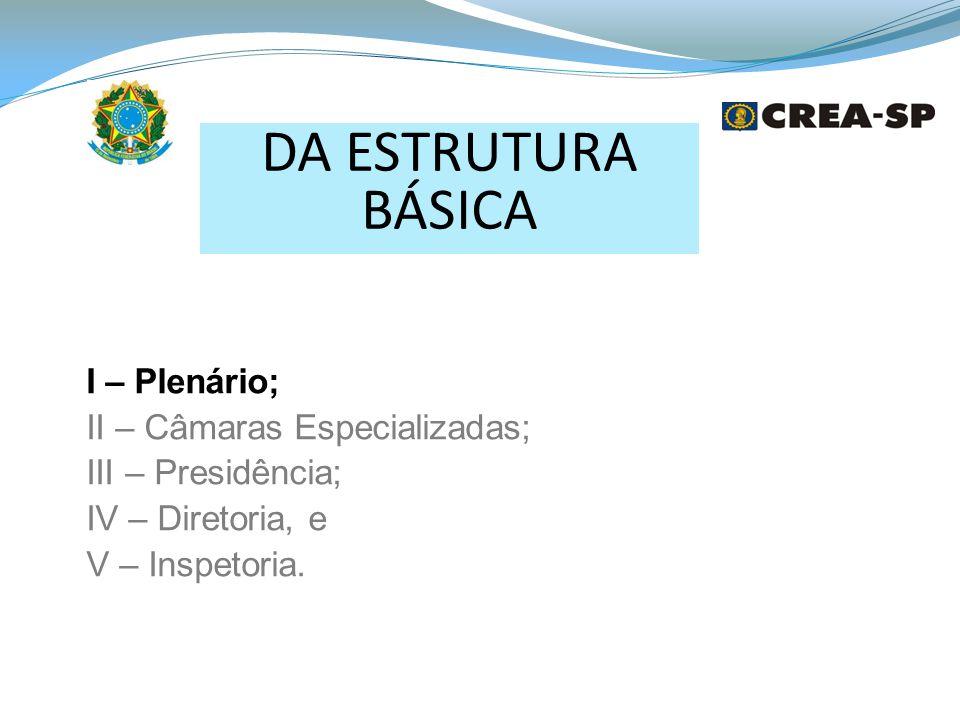 DA ESTRUTURA BÁSICA I – Plenário; II – Câmaras Especializadas; III – Presidência; IV – Diretoria, e V – Inspetoria.