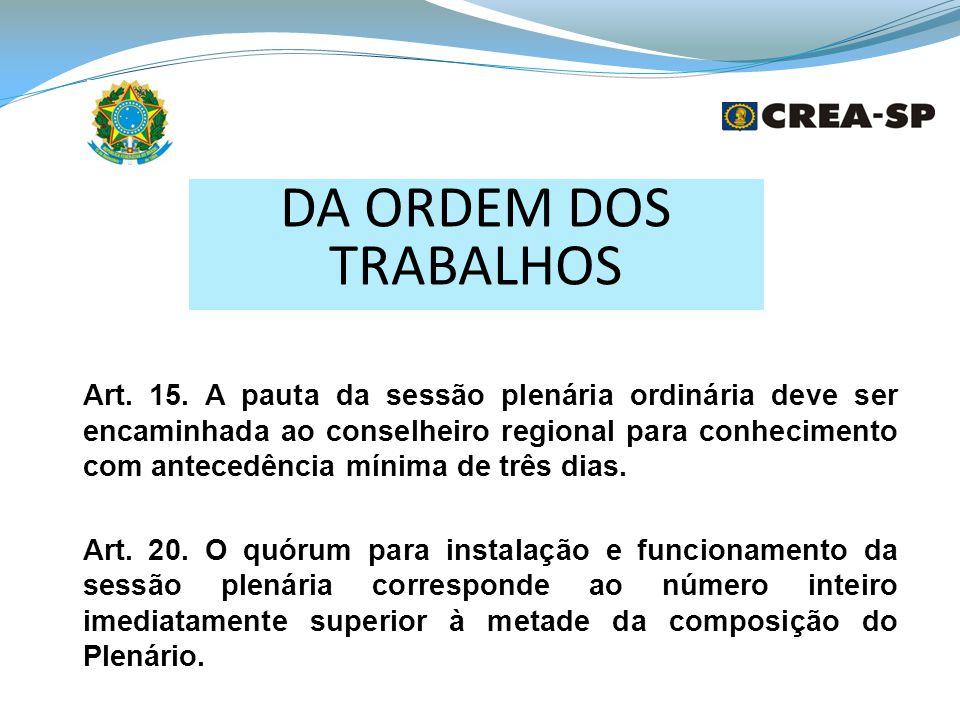 DA ORDEM DOS TRABALHOS Art.15.