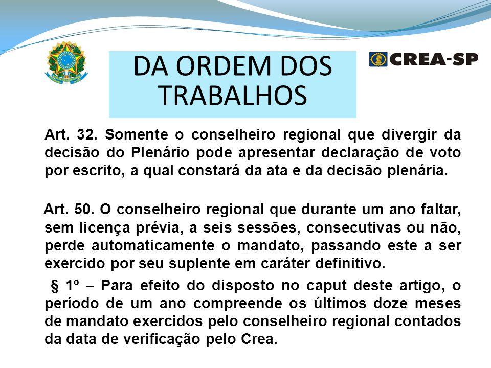 DA ORDEM DOS TRABALHOS Art.32.