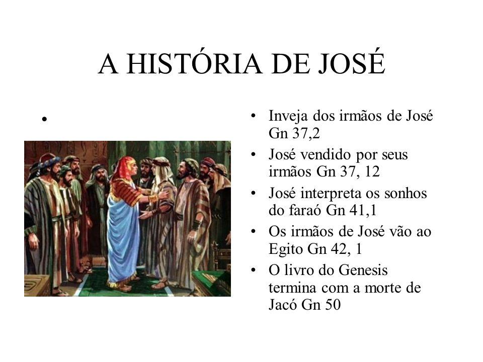 A HISTÓRIA DE JOSÉ Inveja dos irmãos de José Gn 37,2 José vendido por seus irmãos Gn 37, 12 José interpreta os sonhos do faraó Gn 41,1 Os irmãos de Jo