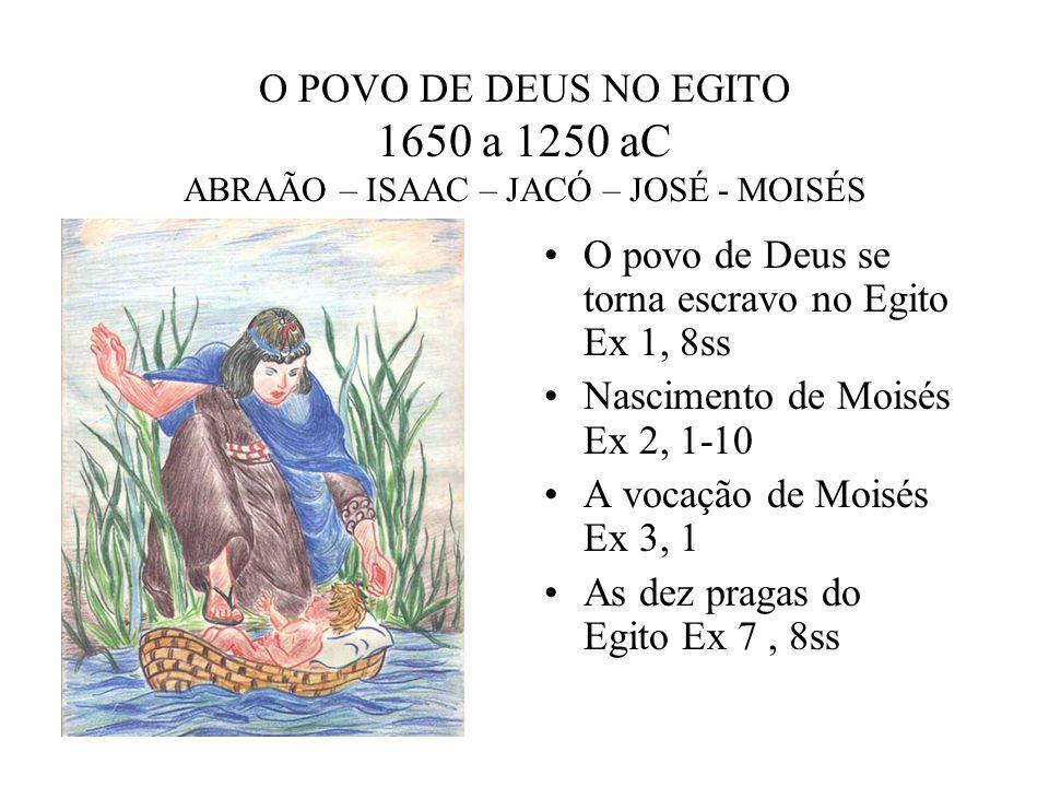 O POVO DE DEUS NO EGITO 1650 a 1250 aC ABRAÃO – ISAAC – JACÓ – JOSÉ - MOISÉS O povo de Deus se torna escravo no Egito Ex 1, 8ss Nascimento de Moisés E