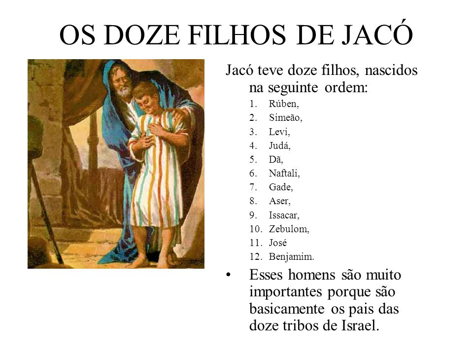 OS DOZE FILHOS DE JACÓ Jacó teve doze filhos, nascidos na seguinte ordem: 1.Rúben, 2.Simeão, 3.Levi, 4.Judá, 5.Dã, 6.Naftali, 7.Gade, 8.Aser, 9.Issaca