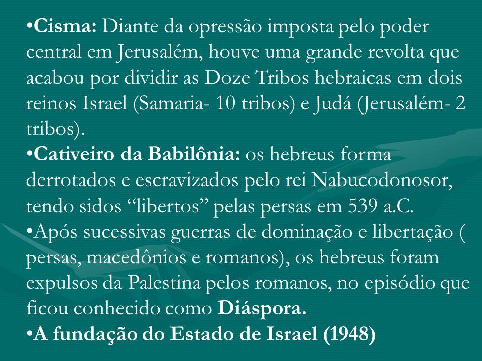 Cisma: Diante da opressão imposta pelo poder central em Jerusalém, houve uma grande revolta que acabou por dividir as Doze Tribos hebraicas em dois re