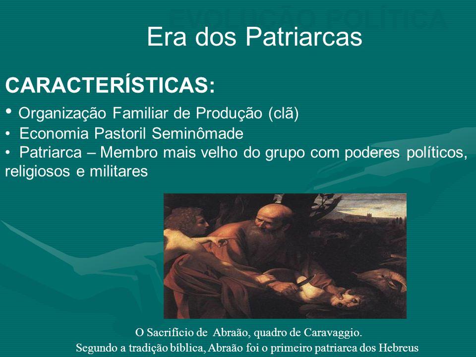 EVOLUÇÃO POLÍTICA Era dos Patriarcas CARACTERÍSTICAS: Organização Familiar de Produção (clã) Economia Pastoril Seminômade Patriarca – Membro mais velh