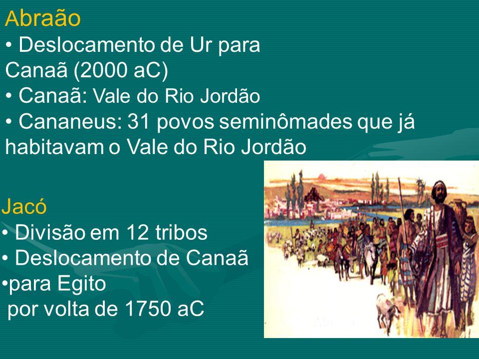 A braão Deslocamento de Ur para Canaã (2000 aC) Canaã: Vale do Rio Jordão Cananeus: 31 povos seminômades que já habitavam o Vale do Rio Jordão Jacó Divisão em 12 tribos Deslocamento de Canaã para Egito por volta de 1750 aC