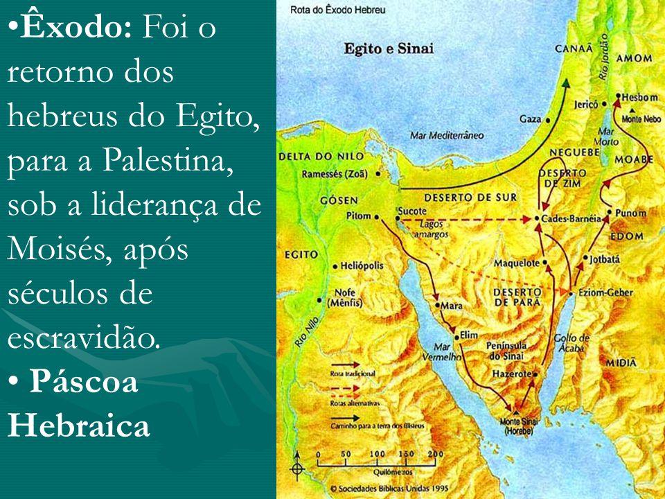 Êxodo: Foi o retorno dos hebreus do Egito, para a Palestina, sob a liderança de Moisés, após séculos de escravidão. Páscoa Hebraica