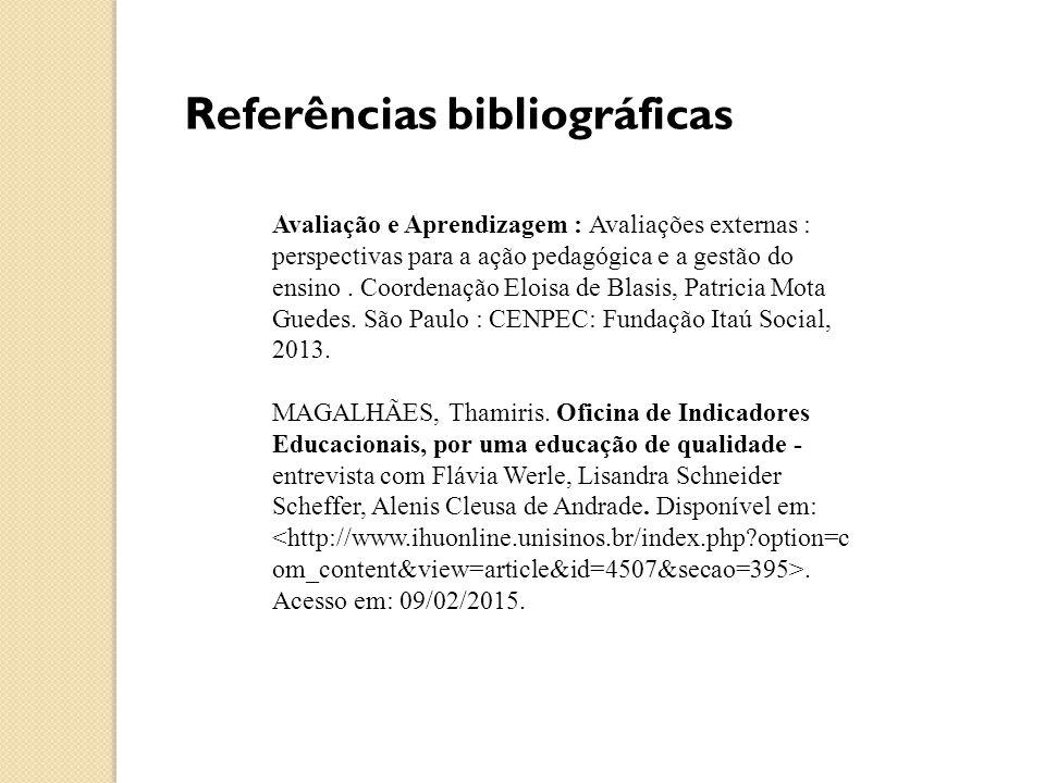 Referências bibliográficas Avaliação e Aprendizagem : Avaliações externas : perspectivas para a ação pedagógica e a gestão do ensino.