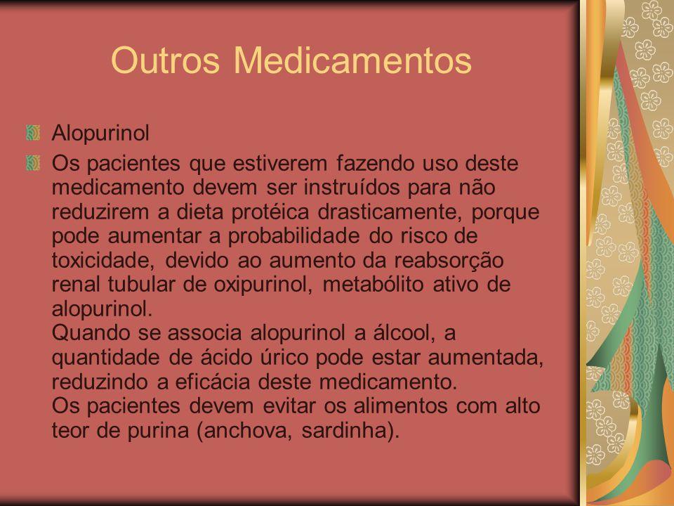 Outros Medicamentos Alopurinol Os pacientes que estiverem fazendo uso deste medicamento devem ser instruídos para não reduzirem a dieta protéica drast